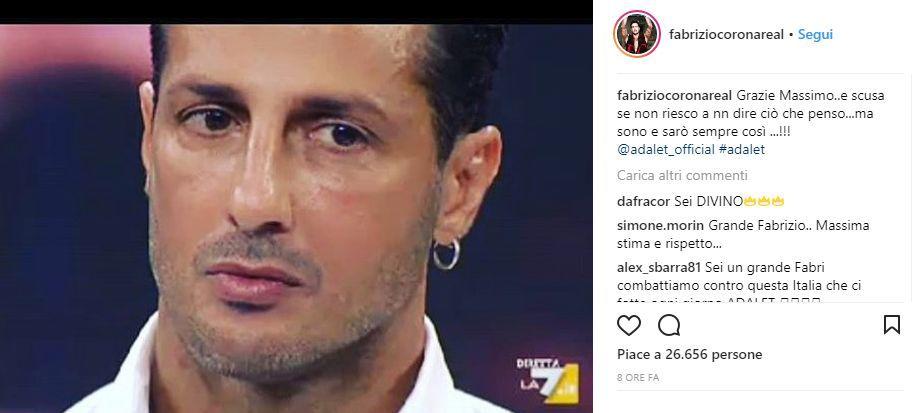 corona arena replica 18095720 - Fabrizio Corona dopo lo show da Giletti: «Grazie Massimo. Scusa ma non riesco a non dire ciò che penso». Ecco cosa è successo ieri sera!